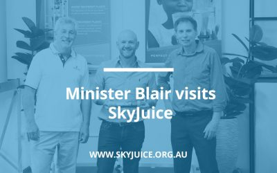 Minister Blair praises SkyJuice product innovation on recent factory visit
